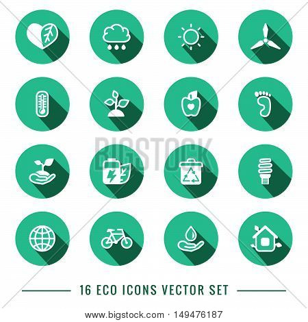 Flat outline vector eco turquoise (blue-green) icons set