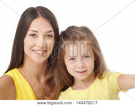 Cute girl with mother, closeup