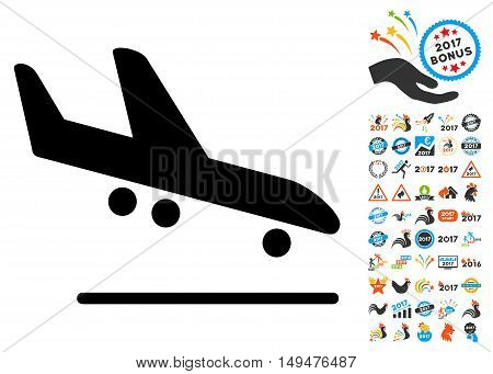 Airplane Arrival icon with 2017 year bonus vector pictograms. Clipart style is flat symbols, white background.