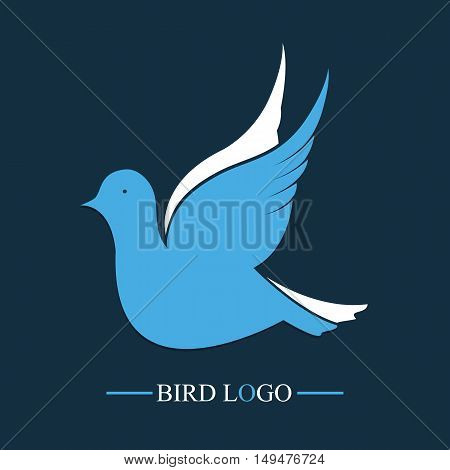 Blue Bird. Vector logo. Flying dove icon