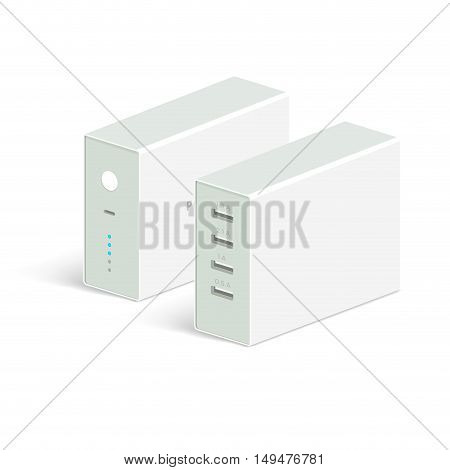 vector powerbank icon on white background. Isometric view. Flat style design. Charging device