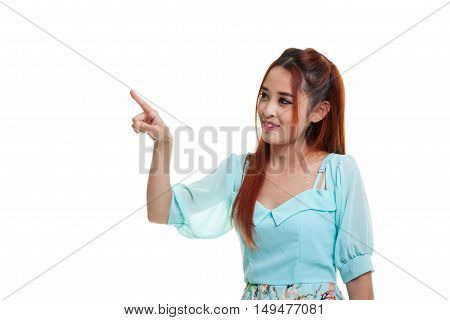 Asian Woman Touching The Screen With Her Finger