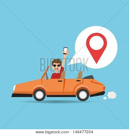 Cartoon man car and smartphone. Gps navigator location travel and route theme. Colorful design. Vector illustration