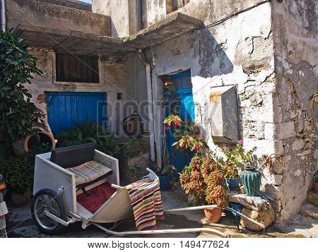 cozy patio village Crete Greece household street