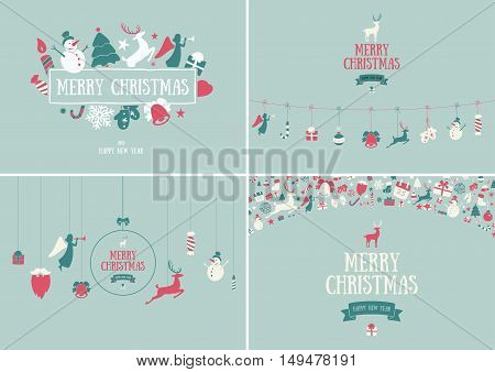 Merry Christmas decoration and card design. Happy New Year design elements. Vintage symbols of green deer, bell, snowflake, ribbon, bow, tree, snowman. Holiday hand drawn vector icons set.