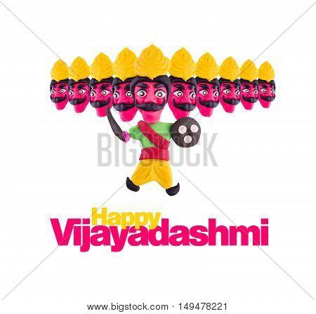 10 headed ravana or ravan made using colourful clay or dough