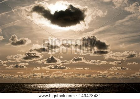 Sunset on the Baltic sea and clouds