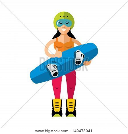 Girl with wakeboard. Isolated on white background