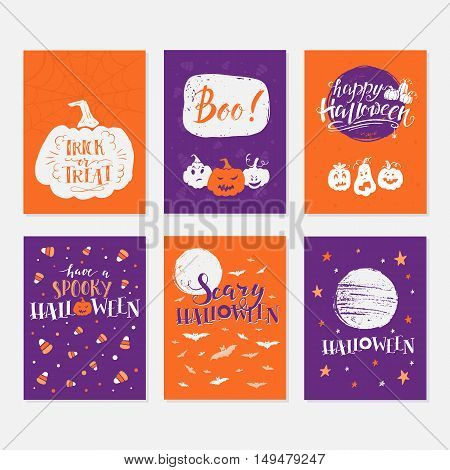 Vector Halloween greeting card flyer banner poster templates. Hand drawn traditional symbols and handwritten lettering. Vector collection with pumpkins ghosts moon. Perfect for party invitation.