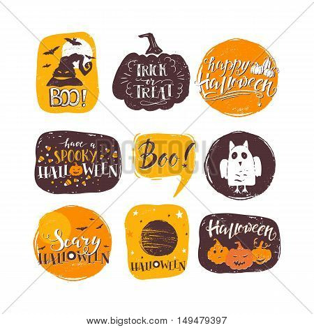 Vector Halloween design elements. Halloween stickers with hand drawn symbols and lettering. Vector collection with pumpkins ghosts owl. Perfect for party invitation greeting card flyer poster.