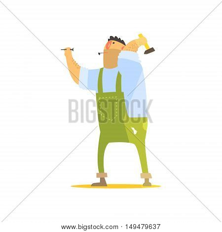 Builder With Hammer And Nails On Construction Site. Graphic Design Cool Geometric Style Isolated Character On White Background