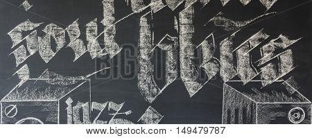 Blackboard Wall In Room Interior