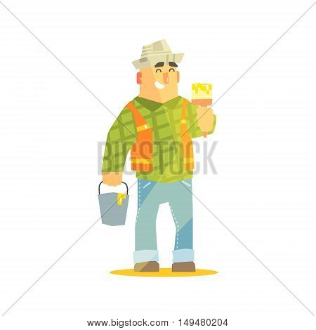 Builder With Paintbrush And Bucket On Construction Site. Graphic Design Cool Geometric Style Isolated Character On White Background