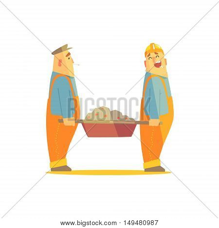 Two Builders With Barrow On Construction Site. Graphic Design Cool Geometric Style Isolated Character On White Background