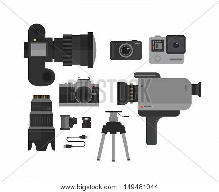 Photo and video camera, icons set  in flat style.Photographer kit vector illustration.