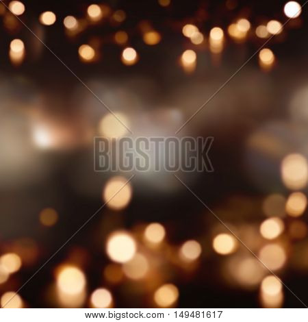 Festive dark background with light spots and bokeh
