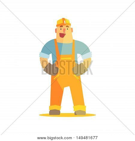Happy Builder On Construction Site. Graphic Design Cool Geometric Style Isolated Character On White Background