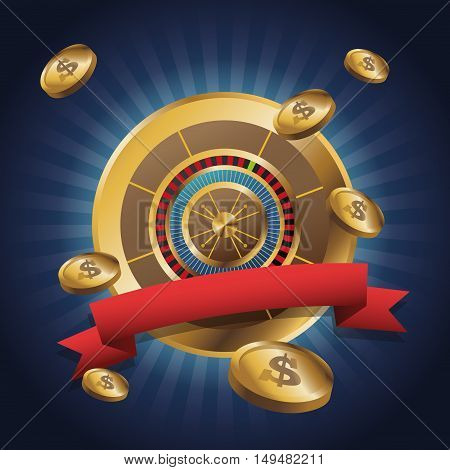 Gold roulette icon. Casino and las vegas theme. Colorful design. Vector illustration