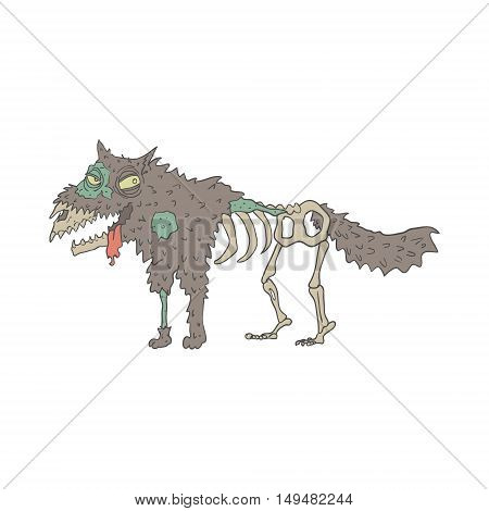 Dog Creepy Zombie With Rotting Flesh Outlined Hand Drawn Adult Style Illustration Isolated On White Background