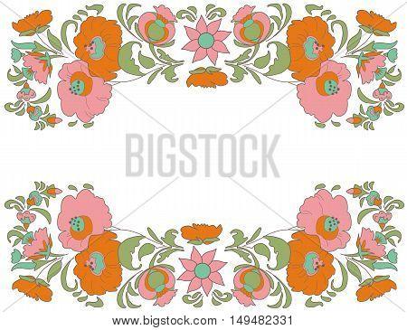 Fabulous Floral Pattern Ethnic flowers Floral folk art Folkart Flower pattern Vintage background Vector illustration Ethnic decoration flowers Folk ethnic theme Card exotic