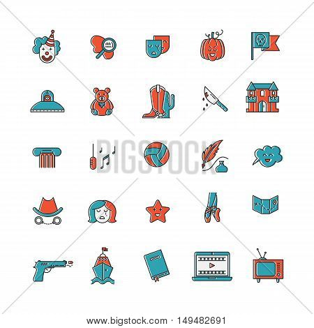 Vector set of movie genres line icons isolated on white background. Different film genre elements perfect for infographic or mobile app