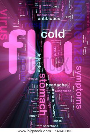Word cloud concept illustration of  flu influenza glowing light effect