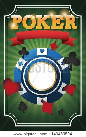 cards symbols and chip icon. Poker casino and las vegas theme. Colorful design. Vector illustration