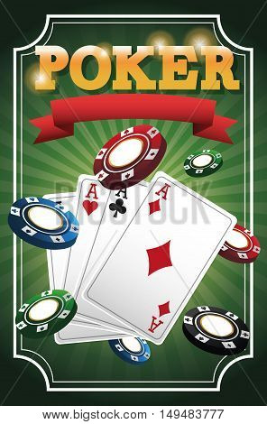 cards of poker and chips icon. Casino and las vegas theme. Colorful design. Vector illustration