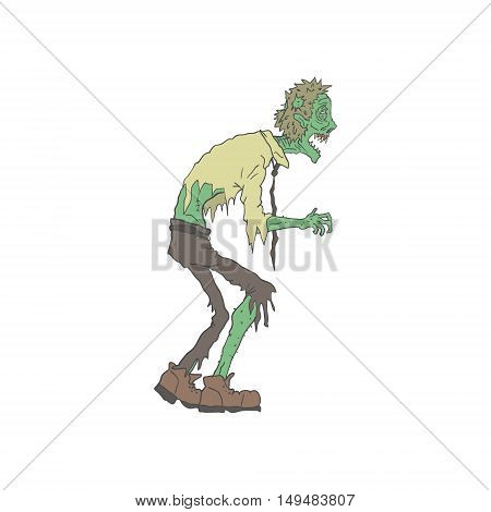 Office Worker Creepy Zombie With Rotting Flesh Outlined Hand Drawn Adult Style Illustration Isolated On White Background