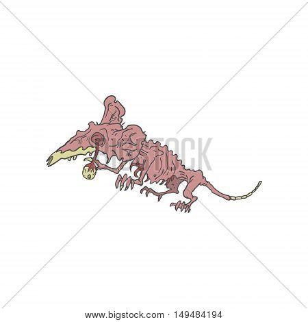 Rat Creepy Zombie With Rotting Flesh Outlined Hand Drawn Adult Style Illustration Isolated On White Background