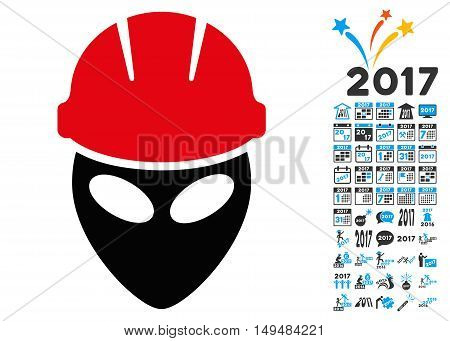Alien Worker icon with 2017 year bonus vector design elements. Set style is flat symbols, white background.