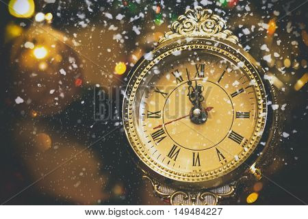 New Year background, greeting card. Christmas decoration
