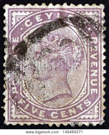SRI LANKA - CIRCA 1886: a stamp printed in Sri Lanka shows Queen Victoria circa 1886