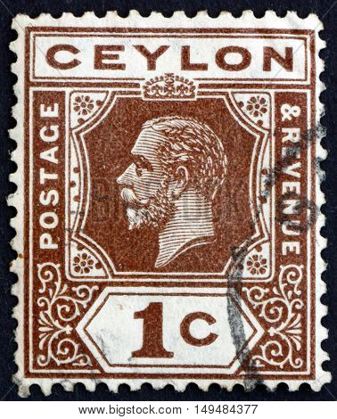 SRI LANKA - CIRCA 1920: a stamp printed in Sri Lanka shows King George V circa 1920