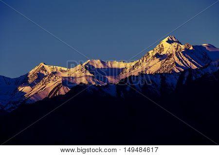 Himalayan mountain range during sunrise at morning