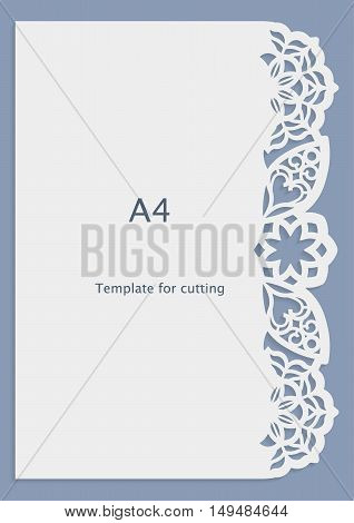 A4 paper lace greeting card wedding invitation white pattern cut-out template template congratulation perforation pattern laser cutting template vector