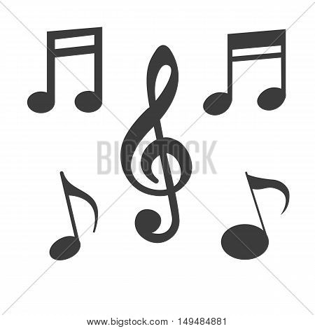 Music note icon. Music note Vector isolated on white background. Flat vector illustration in black. EPS 10