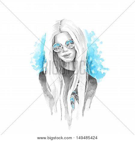 Boho girl. Watercolor painting.  Hand drawn illustration