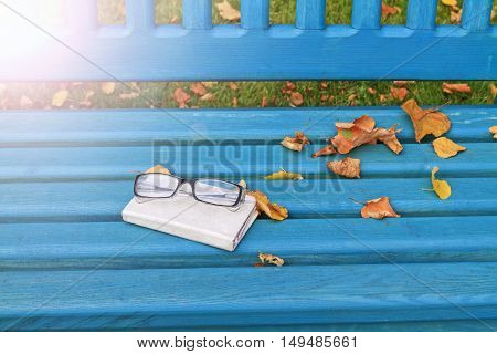 autumn still life with glasses and Notebook, nostalgic mood notes, with sunny hotspot