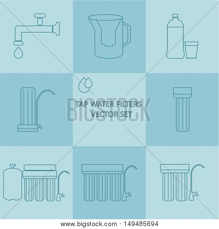 Outline tap water filter icon set. Drink water purification filters. Different tap water filtration systems for water treatment. Vector water filter icon set