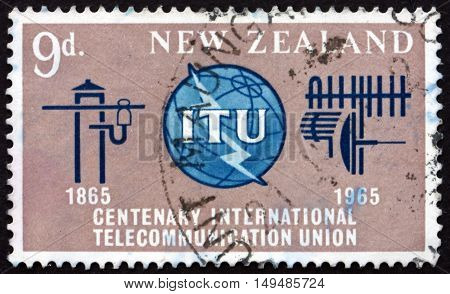 NEW ZEALAND - CIRCA 1965: a stamp printed in New Zealand shows ITU Emblem Old and New Communication Equipment circa 1965