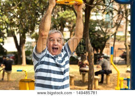 Senior having fun on the playground