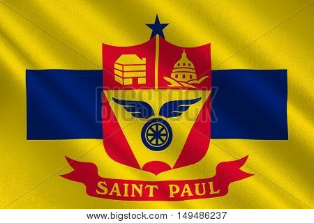 Flag of Saint Paul is the capital city of Minnesota state United States. 3D illustration
