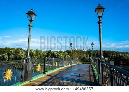 beautiful bridge over the pond in the palace and park ensemble Tsaritsyno in Moscow