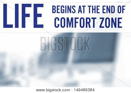 Comfort zone concept. Text on blurred view of modern computers in office