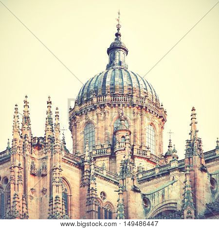 Cupola of The New Cathedral in Salamanca, Spain. Retro style filtered image