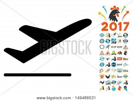 Departure icon with 2017 year bonus vector pictograms. Collection style is flat symbols, white background.