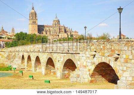 Roman bridge and Salamanca Cathedrals, Spain
