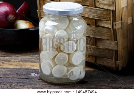 Glass jars with heart of palm