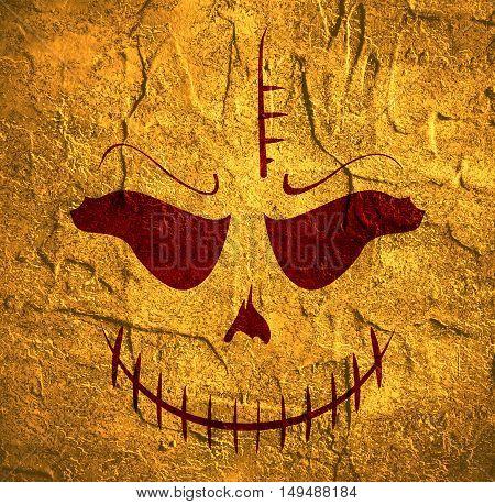 Doodle Skull with Evil Laugh. Simple silhouette. Concrete texture.